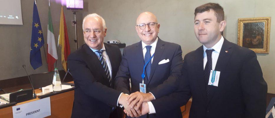 Da sinistra Josè Ignacio Ceniceros Gonzales, Gaetano Armao e Borboly Csaba.
